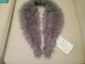 Fake Fur Collar Grey NEW