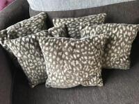5 small leopard print cushions