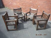 4x Job lot Wood Garden Patio Pub Carver Chairs Large Restoration Project.Used 37x25x23""