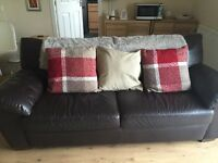 IKEA Brown leather 3 seat sofa, easily seats 3 people, very comfortable. Good condition