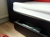 Brown Faux Leather single bed with draws under