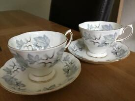 2Royal Albert silver maple bone china cups & Saucers
