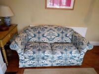 Two-seater SOFA. Beautiful quality. Upholstered in soft blue and cream white. Classical.