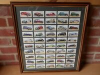 Framed picture with a selection of cigarette cards dated 1936.
