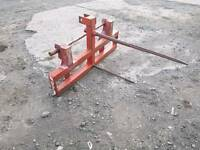 Tractor front loader bale spike with Chilton brackets fitted