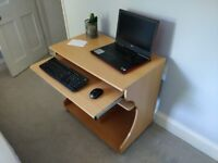 80cm beech computer desk with keyboard tray