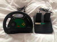 LX4 Steering Wheel & Foot Pedals For Nintendo 64