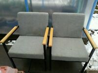*BARGAIN* Pair of sturdy heavy duty office / reception/waiting room comfortable chairs in light grey