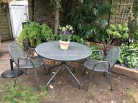 Dark Grey Garden Table & 4 Chairs