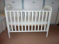 John Lewis White Playbead Cot & matching John Lewis Spring Mattress both excellent condition £75