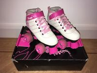 SFR white and pink roller boots