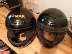 Two old motorcycle helmets for scuffing about off road,cheap on road?
