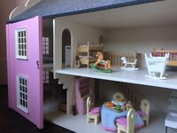 Handmade timber dolls house - Furniture included