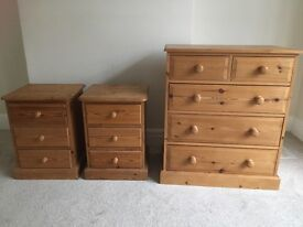Pine Chest of Drawers and two matching Bedside Tables