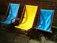 Two adult deckchairs one childs