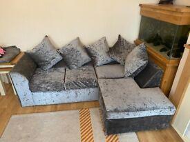 Crushed Velvet Corner Sofa in Silver