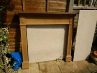 Wood Fire Place surround with composite marble slabs