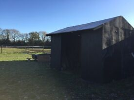 MOBILE FIELD SHELTER ON WOODEN SKIDS 12x9 good Condition Apex Roof Kick Bourds Available at extra