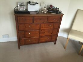 Mahogany Chest of drawers and bedside tables x 2