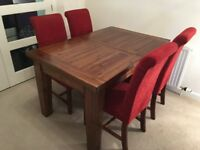 Solid Wood Extending Dining Room Table & 6 Fabric Chairs