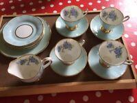 £50 Vintage Clare Harlequin Floral Blue Bone China tea Set 422