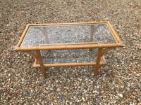 Bamboo coffee table with glass top and shelf