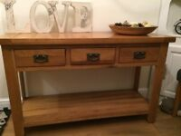 Solid Oak 3 drawer console table in excellent condition