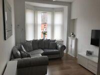 Crushed velvet corner sofa