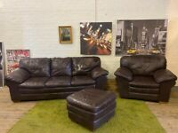 SOFAOLOGY LEATHER SOFA SET 3+1 & FOOTSTOOL IN GOOD CONDITION VERY COMFY