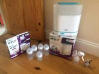 Philips AVENT Steriliser, 5 AVENT Feeding bottles & AVENT Manual Breast Pump