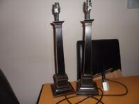 Two Wooden Laura Ashley Table Lamps