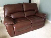 Two seater brown leather La-Z-Boy power reclining sofa