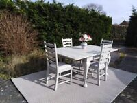 Lovely Vintage, extending Dining Table & 4 Chairs. Pale Grey. Delivery Available.