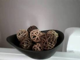 Brown bowl Ornament with wicker balls