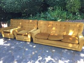 Comfy three piece, three seater sofa for sale.