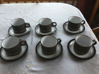 Beautiful set of 6 Hornsea Pottery CONTRAST Cups and Saucers in Very Good Condition