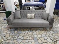 BRAND NEW BLUE/GREY/BROWN CHESTERFIELD DESIGN SOFA BED WITH STORAGE AND FREE CUSHIONS