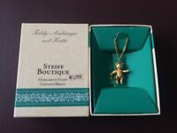 Vintage Steiff Boutique Gold Plated Bear Pendant and Necklace