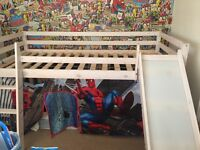 Mid sleeper with slide and spiderman tent