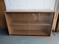 GLASS FRONTED WALL OR MOUNTED BOOKSHELVE CABINATE
