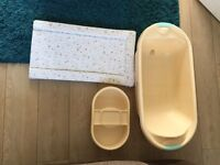 Baby bath, top and tail and changing mat