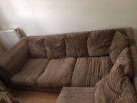 Brown fabric corner sofa - good condition