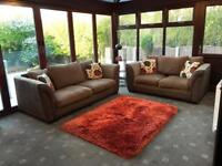 Brown Suede 3 + 2 Seater Sofas Good Condition