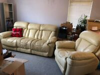 Leather Electric Reclining Sofa and Manual Recliner Chair