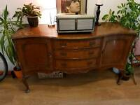 Matching antique sideboard and dresser / dressing table with mirror. Upcycle project