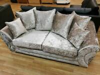 Beautiful Gold velvet 3 seater sofa with scatterback cushion design