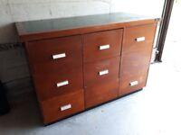 Filing cabinet vintage wooden 9 drawers