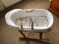 Moses basket, stand, mattress and sheets