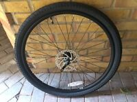 Bike wheel, fork, handle bar, seat post, saddle, carrera