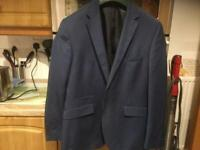 BURTONS MENSWEAR BLUE JACKET tailored fit 40 regular. IMMACULATE pockets still sewn together.